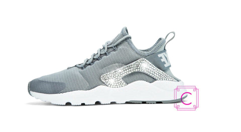 Women's Nike Air Huarache Run Ultra in Stealth/White w/SWAROVSKI® Crystal details