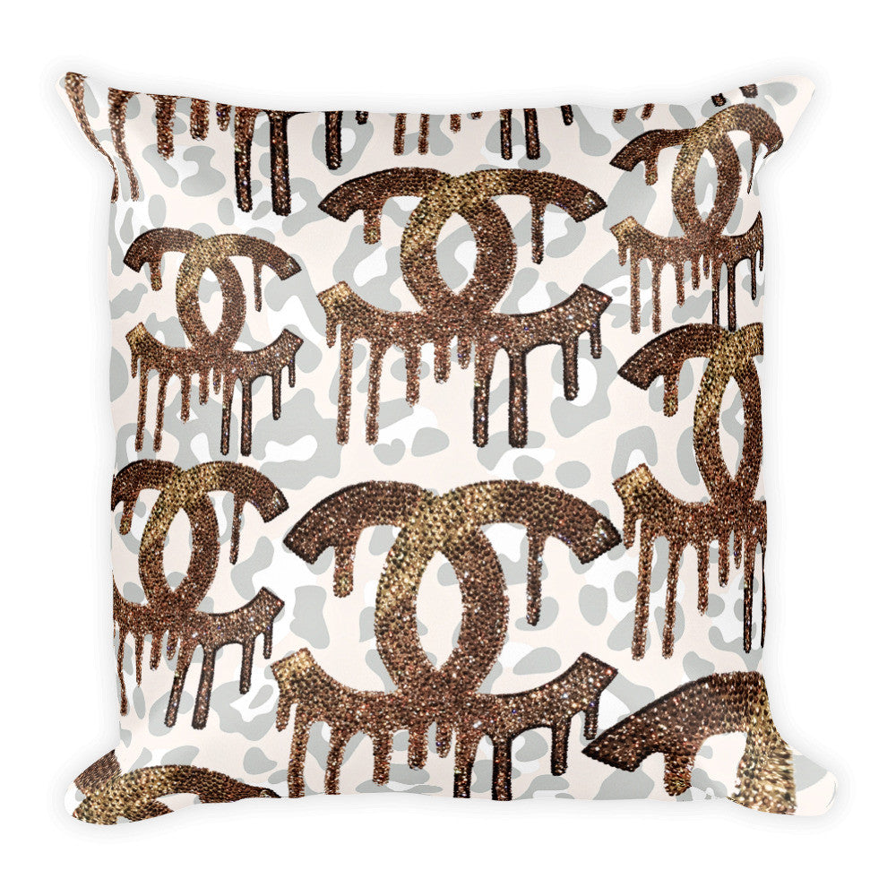 Throw Pillow - Cheetah Dripping C's - CRYSTAHHLED