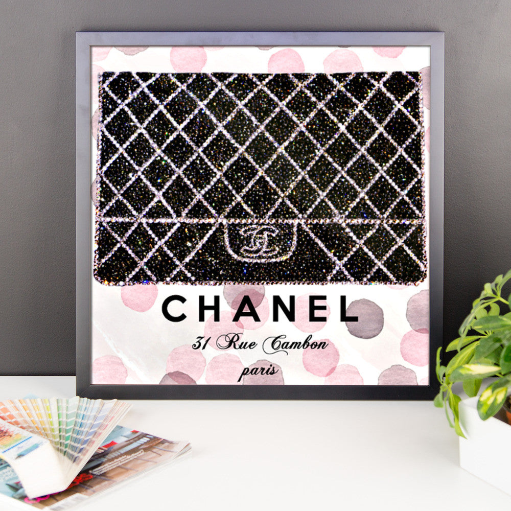 Framed Print - Chanel boy bag - CRYSTAHHLED