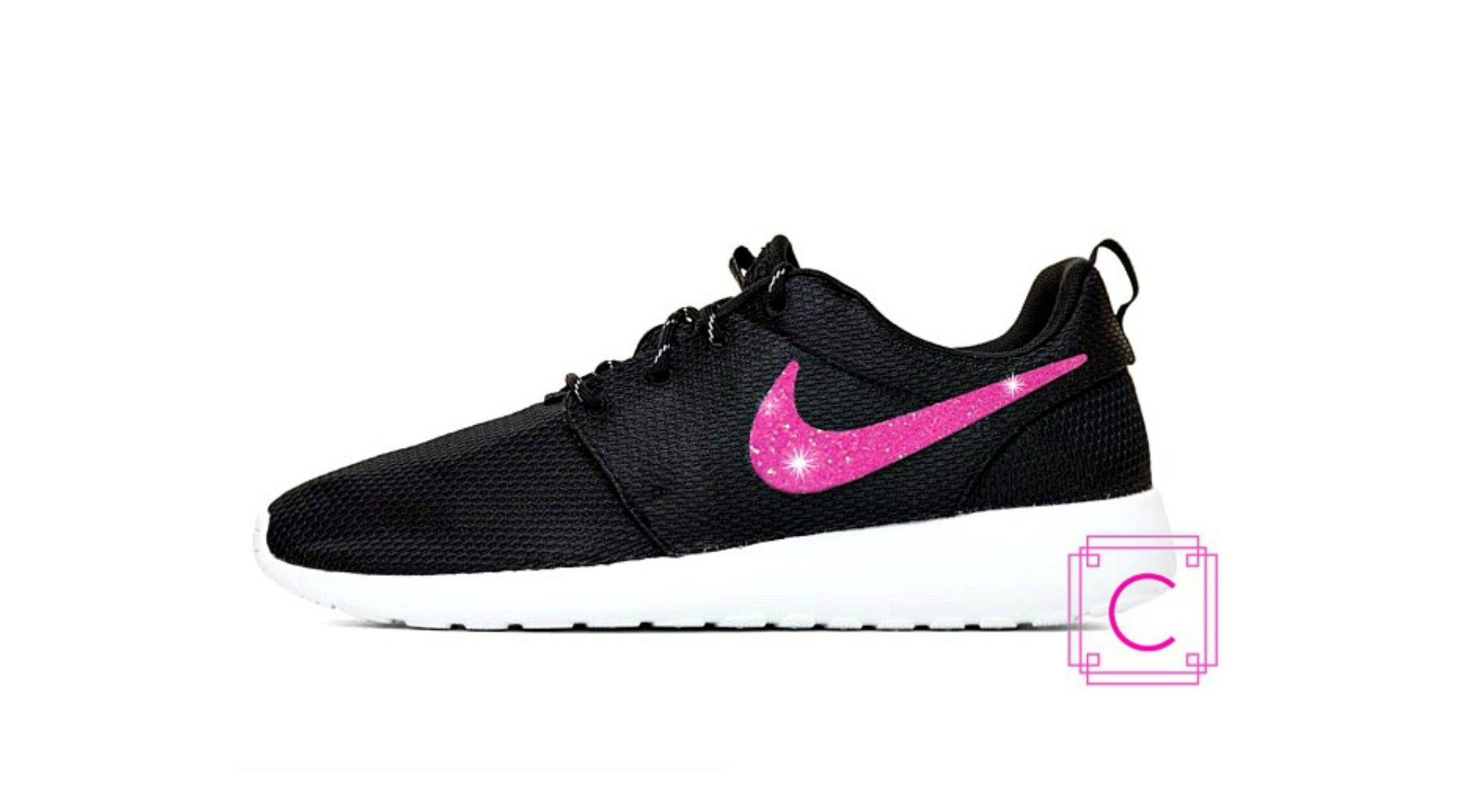 Women's Nike Roshe Two in Black and White with Pink Glitter Swoosh detail - CRYSTAHHLED