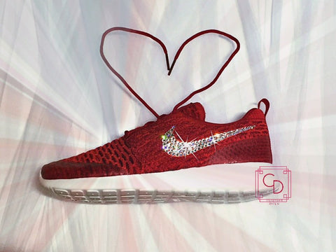 Women's Nike Roshe Run Flyknit Red/White with hand placed Swarovski swoosh - CRYSTAHHLED