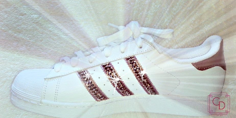 Women's Adidas Original Superstar Hand Painted with SWAROVSKI® Xirius Rose Gold Crystals - CRYSTAHHLED