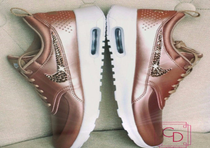 RESTOCKED Nike Air Max Thea Limited Edition in Rose gold with Swarovski crystal details - CRYSTAHHLED