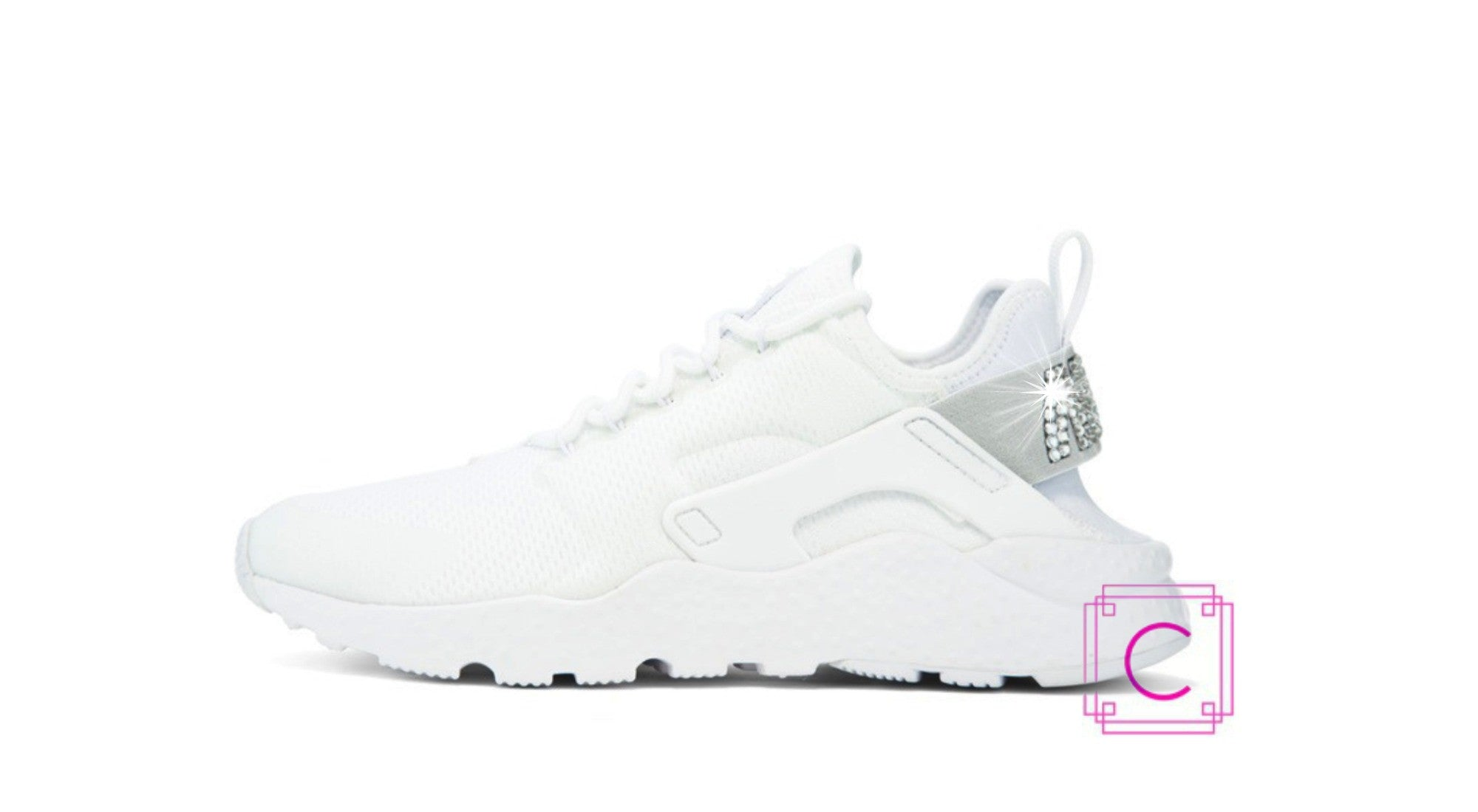 Women s Nike Air Huarache Run Ultra in White w SWAROVSKI® Crystal details b38e1e442085