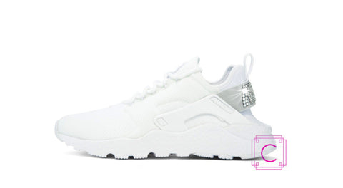 Women's Nike Air Huarache Run Ultra in White w/SWAROVSKI® Crystal details