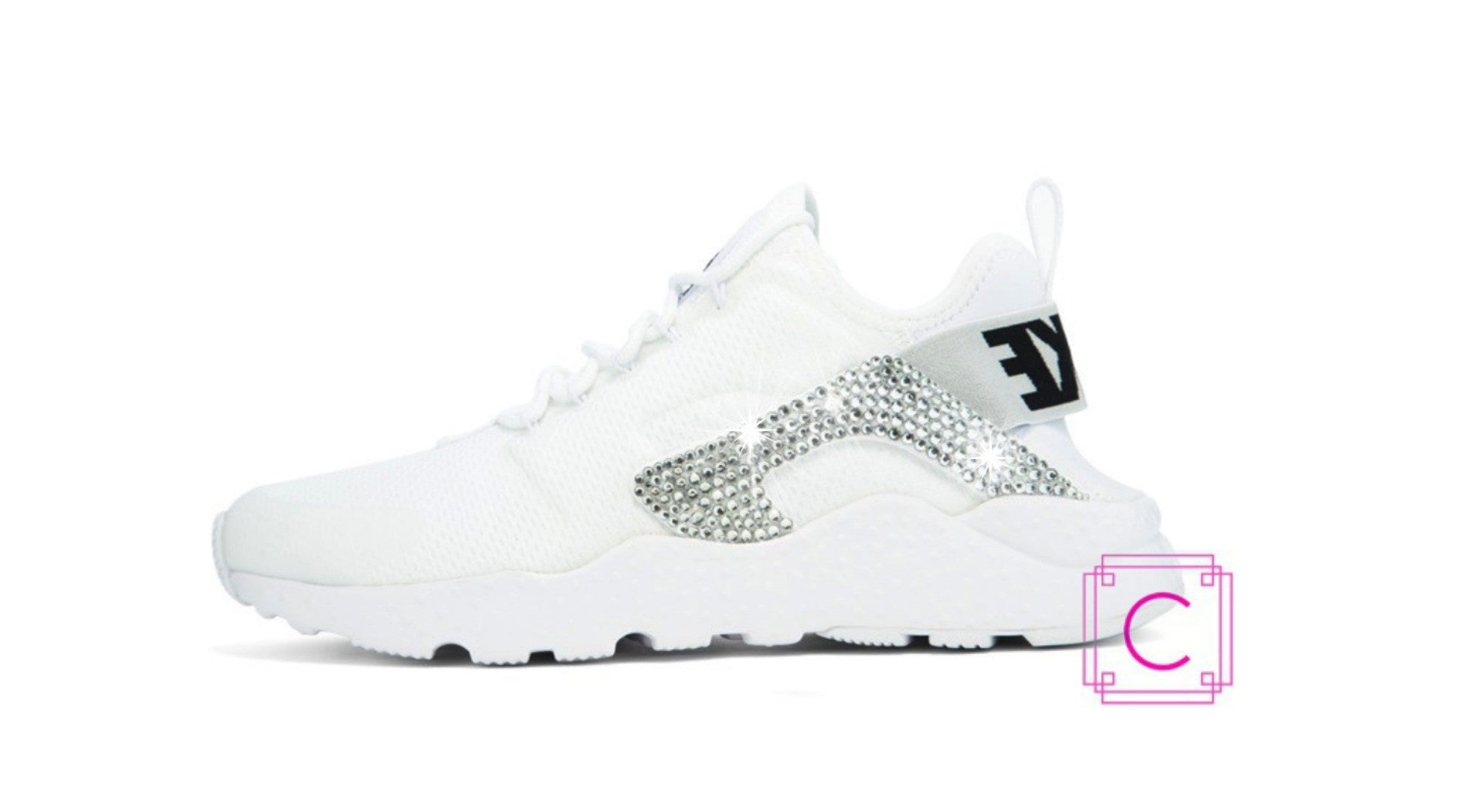 Women's Nike Air Huarache Run Ultra in White w/SWAROVSKI® Crystal details - CRYSTAHHLED