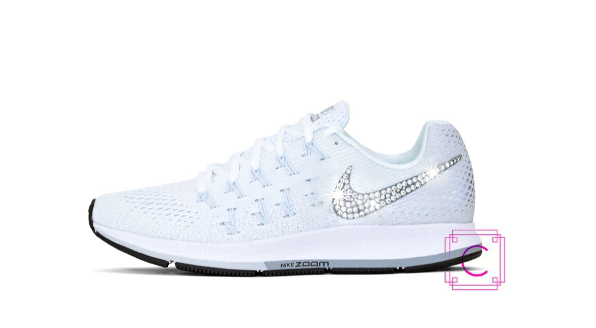Women's Nike Zoom Pegasus 33 in White/Pure Platinum/Black/Cool Grey  w/SWAROVSKI® Crystal details