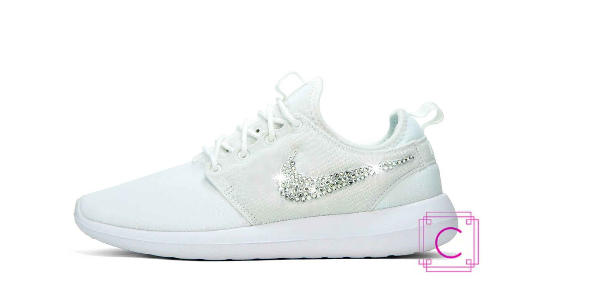 Women's Nike Roshe two White Premium in Light White w/Swarovski Crystals details - CRYSTAHHLED