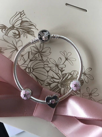 "Authentic Pandora Bracelet Poetic Bloom ""mom"" Gift Set, Mothers Day, Birthday Gift 2017 2017 2017"