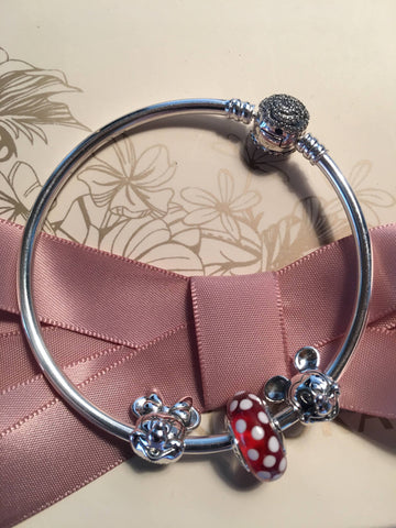 Authentic Pandora Disney Beauty And The Beast Bangle, Mickey And Minnie Bracelet Three Charm Gift Set, Mothers Day,birthday Gift