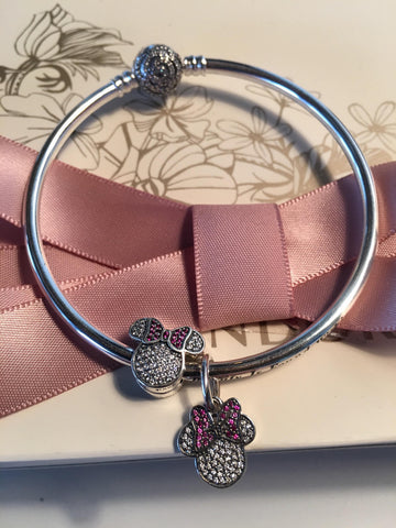 Authentic Pandora Disney Beauty And The Beast Bangle,minnie Mouse Ears Two Charm Gift Set, Mothers Day,birthday Gift
