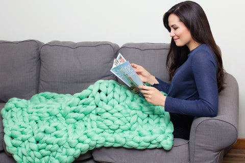 becozi merino wool chunky blanket mint