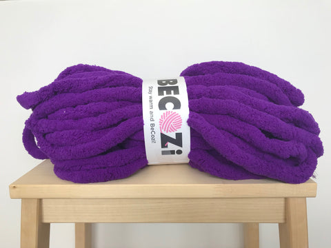 purple indigo violet chenille yarn becozi