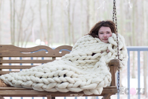 Merino Wool, Throw Blanket, Simple pattern