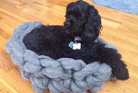 Merino Wool, Oval Dog Bed, Chunky Merino Wool