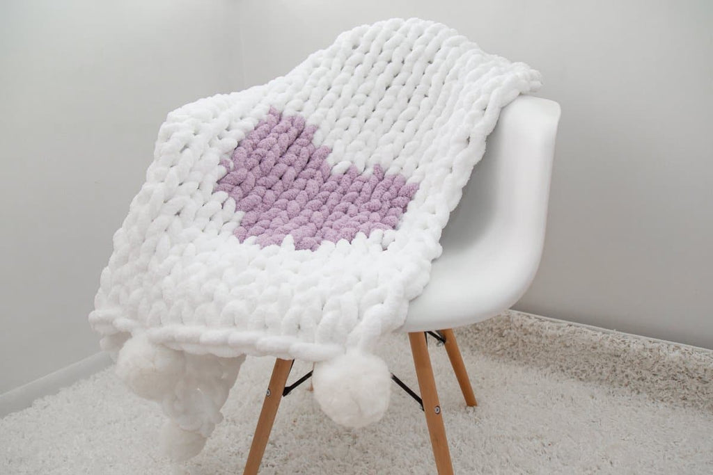 Chunky chenille Blanket with Heart, Video tutorial