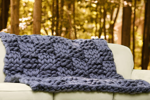 Merino Wool DIY Hand Knit Kit, Basket Weave Pattern, 35x60