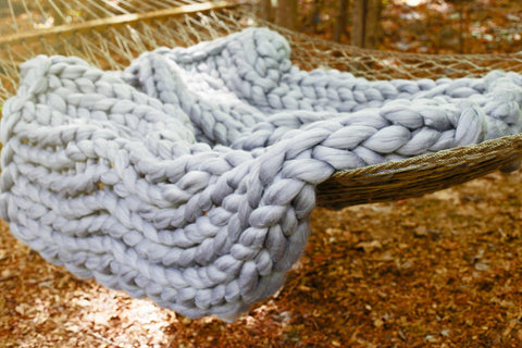 DIy Hand Knitting Video Tutorial, Blanket 40x60 in