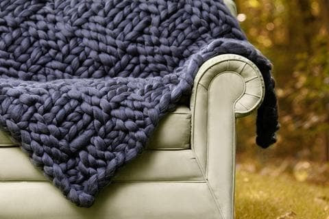Merino Wool DIY Hand Knit Kit, Basket Weave Pattern