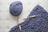 Chenille Yarn DIY Knit Kit with Needles, Basket Weave, Lap Throw 30x50
