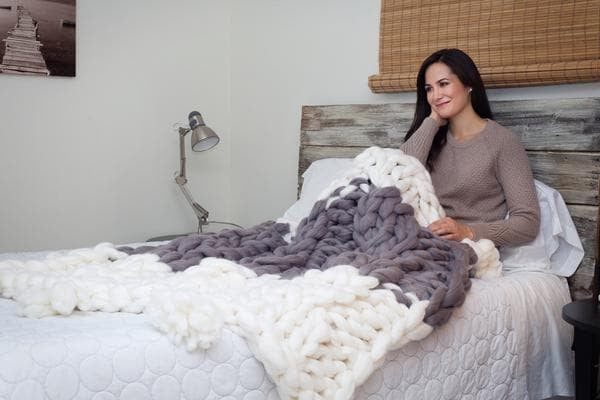 Cable Knit Blanket With Tassels Becozi
