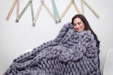 Merino Wool DIY Knit Kit with Needles, Cable Knit Medium Throw 40x60 in