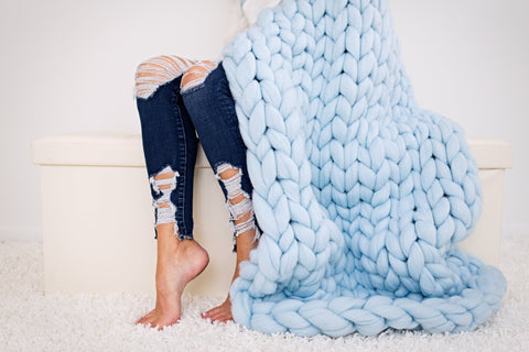 DIY Arm Knitting pattern, Lap throw 30x50 in
