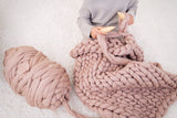 DIY Knit Kit with Needles, Medium Blanket 40x60 in, Merino wool