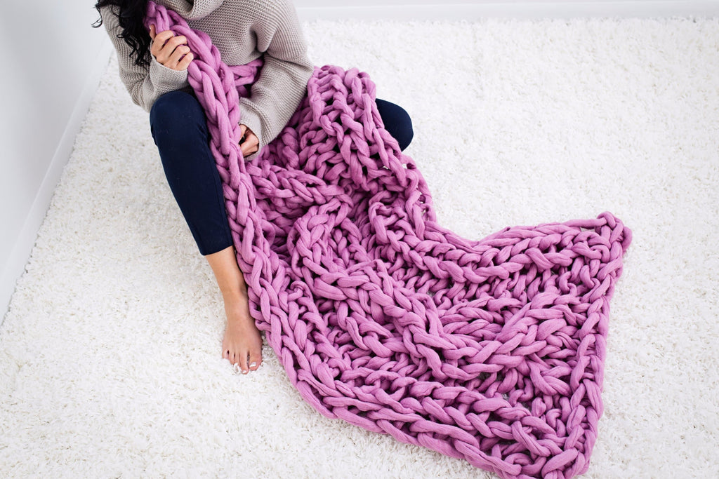 Felted Merino wool throw, double rib pattern