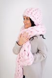Chunky knit hat and scarf set, vegan yarn