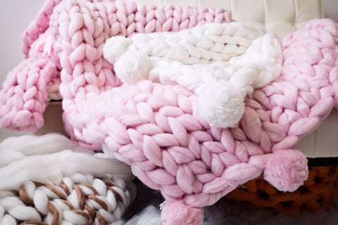 Merino Wool, Throw Blanket with Pom Poms