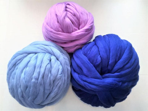 Super Chunky 100% Merino Wool, Blue colors