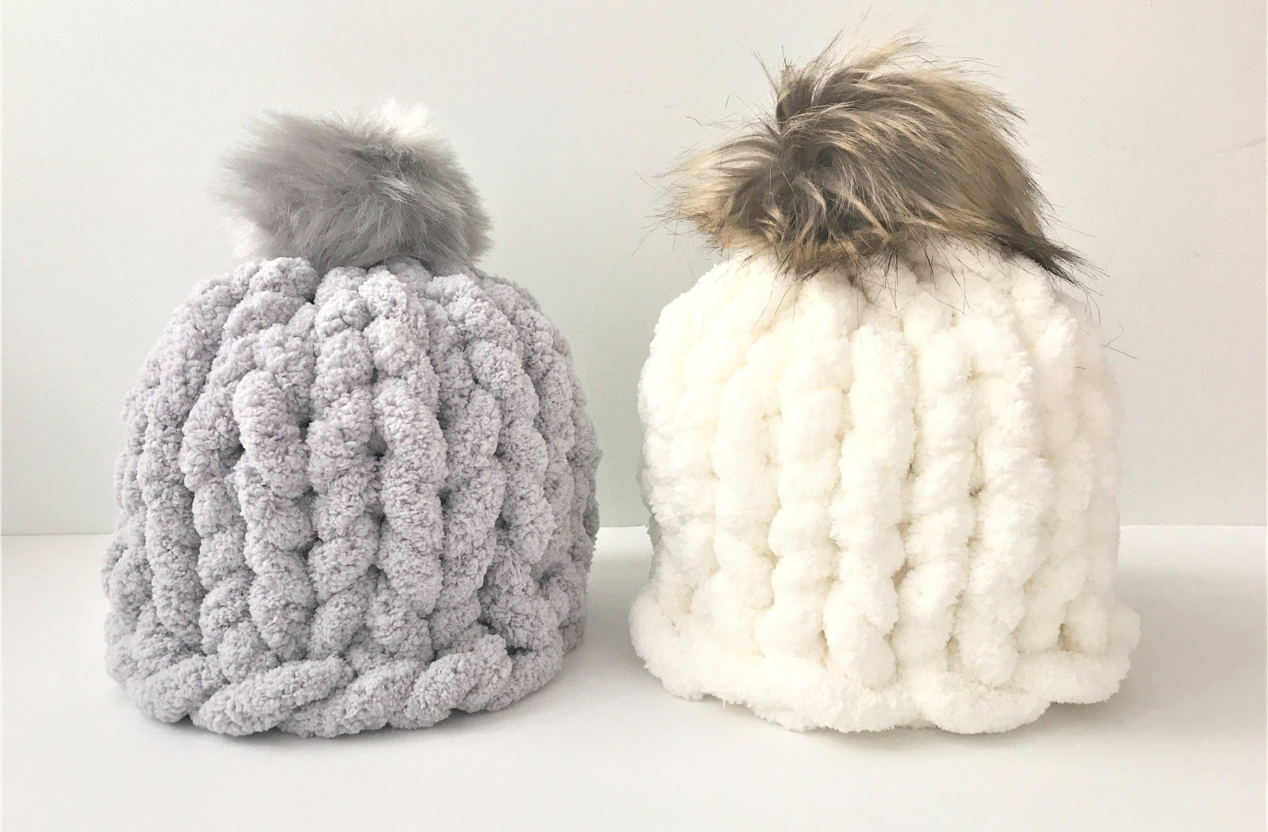 131fc9deee938c Hat with pom pom, Chunky chenille yarn – BeCozi