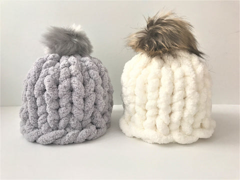 DIY Knitting kit, Hat with pom pom, Chunky chenille yarn