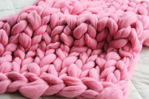 Think pink 5 chunky knit products that will make you swoon becozi pink do it yourself blanket kit solutioingenieria Images