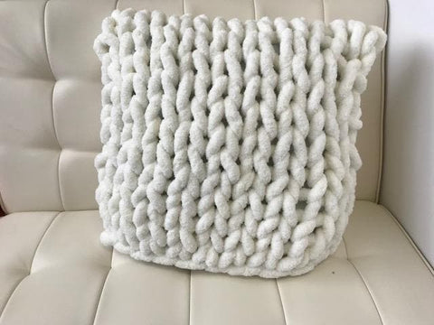 Chenille Yarn, DIY Hand Knitting kit, Square Chenille Pillow