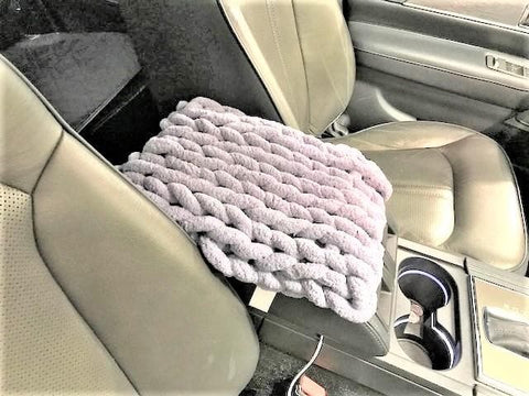 Chenille Yarn DIY Knit Kit: Car Console Pad