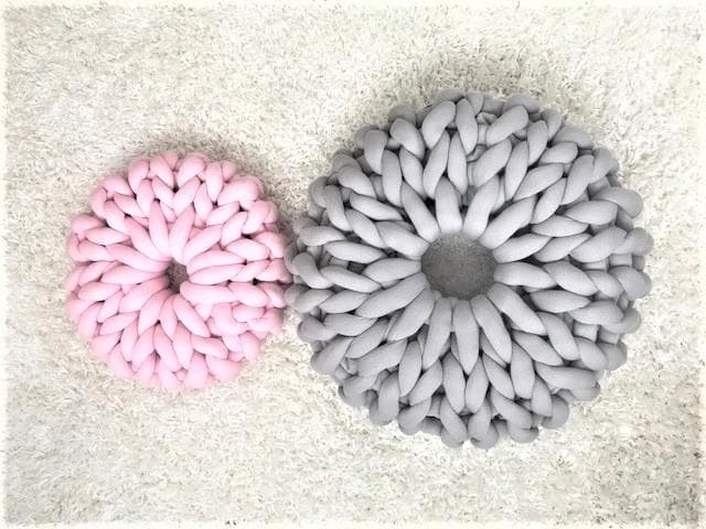 DIY Hand Knit kit; Donut Pillow/Floor cushion, Chunky Tube yarn