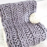 Felted Merino wool throw, double ribbing pattern