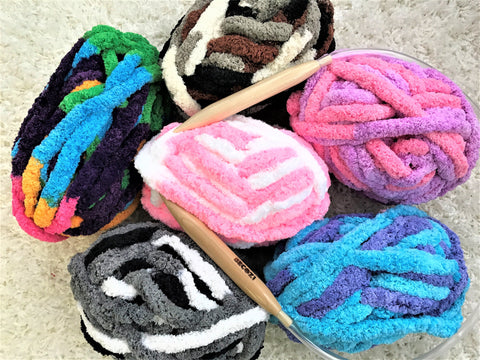 Chunky Chenille Yarn, Variegated Colors
