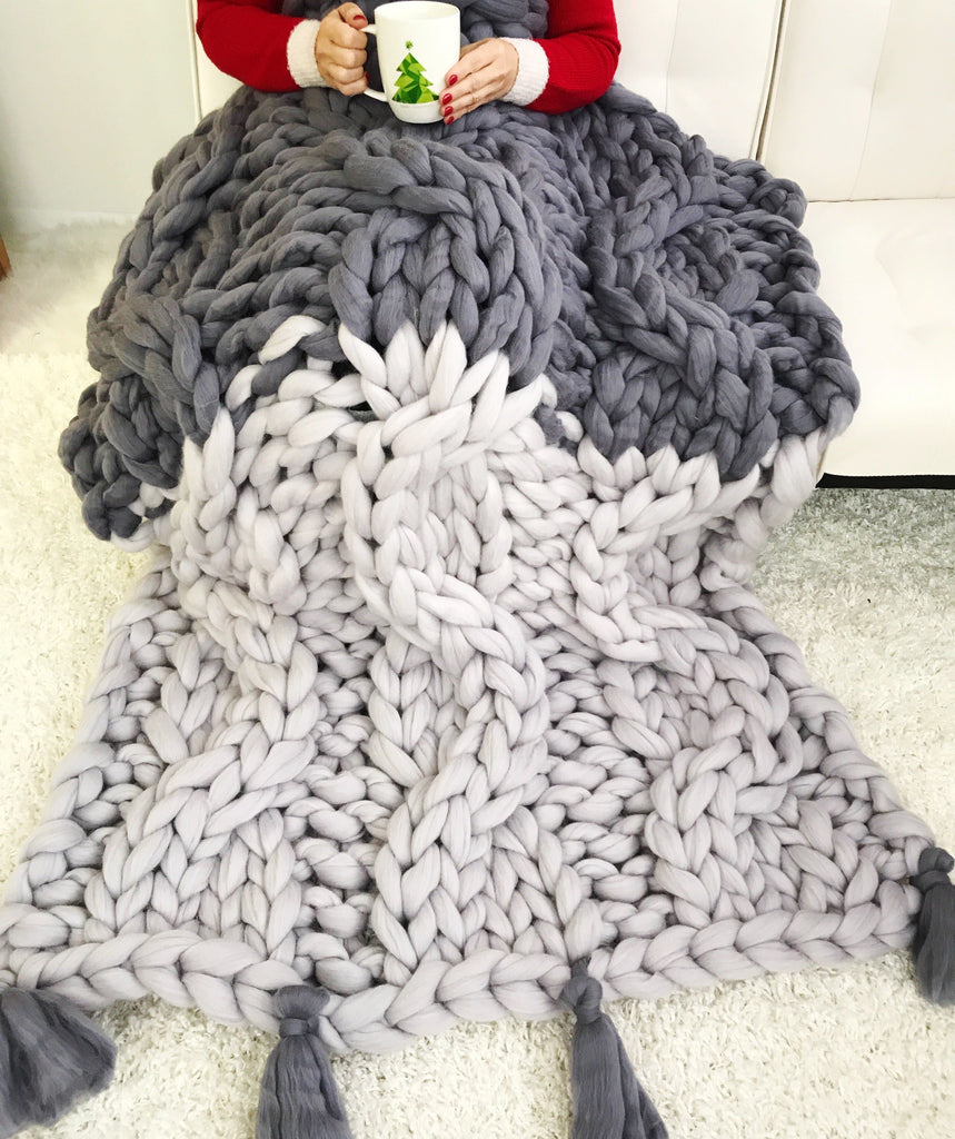 Merino Wool, Cable Knit Throw with tassels