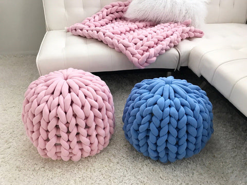 Chunky Knit Pouf/Ottoman, Cotton tube yarn