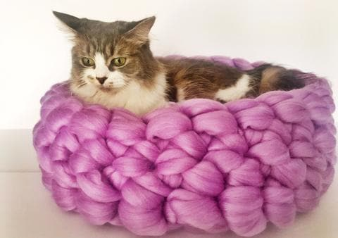 Merino Wool DIY Hand Crochet Kit - Cat Bed