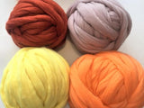 Super Chunky 100% Merino Wool, Warm colors