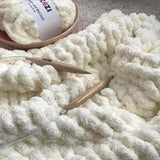 Jumbo Chenille Yarn DIY Knit Kit with Needles, Medium Throw 40x60 in