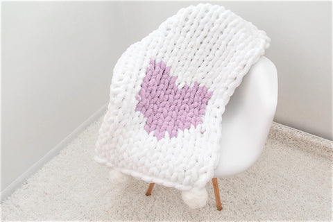 Chunky Chenille Yarn Blanket with a Heart