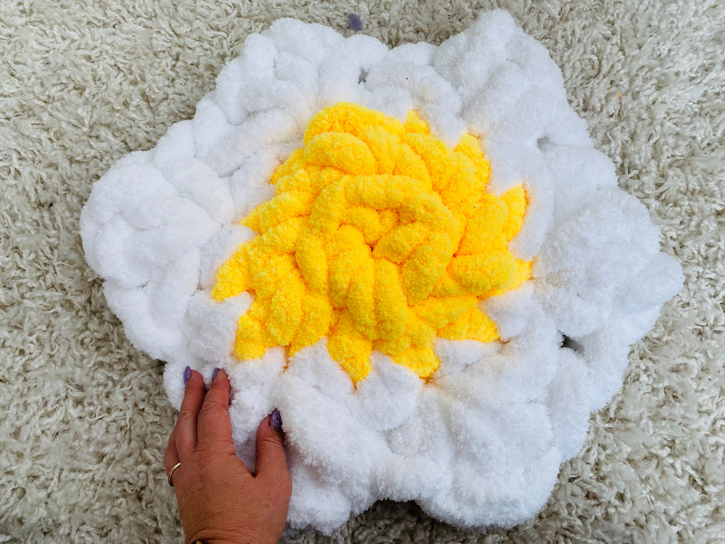 Flower pillow made with Jumbo chenille