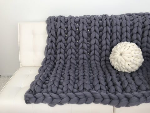 Merino Wool Throw, Ribbing pattern