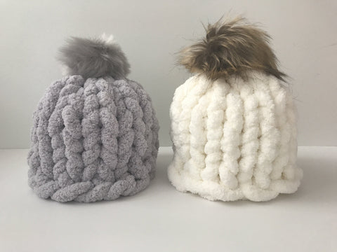 Chunky chenille hat pattern, video tutorial