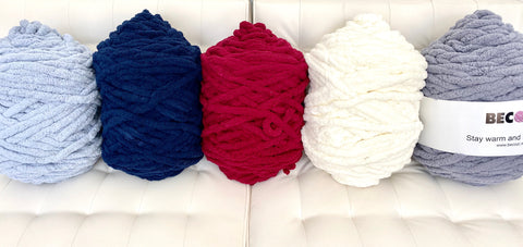 Chunky Chenille Yarn, 2/3 inch thick, Big skeins